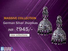 Floral Theme Designer Nickel Jhumka Set Product code: MIJA90J093 Retail price: 1,350/- Sale price : 945/-