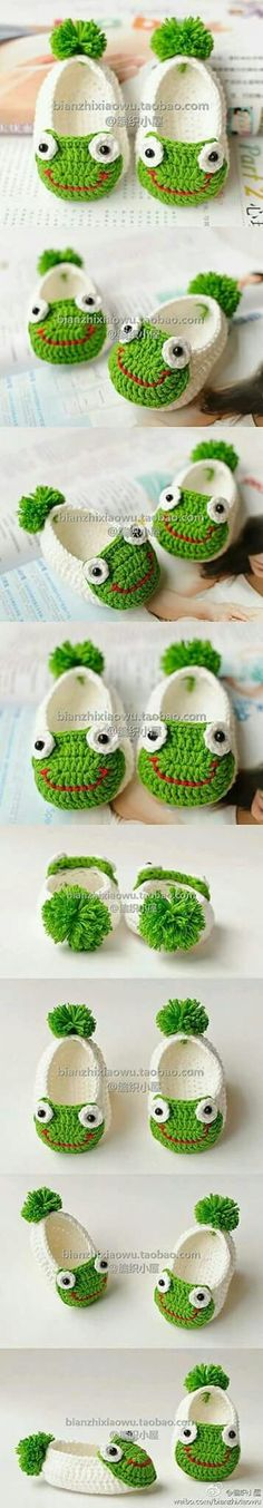 Handmade baby shoes for baby gifts are easier than you think. You can create a nice one with a crochet hook and some yarn! If you love crocheting, here is a pic Love Crochet, Crochet For Kids, Diy Crochet, Crochet Crafts, Crochet Projects, Crochet Frog, Crochet Baby Booties, Crochet Slippers, Baby Slippers