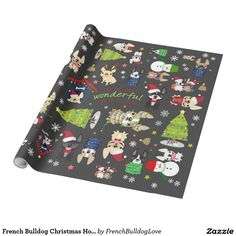 French Bulldog Christmas Holiday Wrapping Paper #zazzle