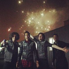 Fall Out Boy with fireworks in Korea