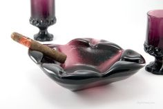 Mid-20th Century Art Glass Ashtray and Goblets  Heavy royal purple art glass made in the 1960′s when the hip generation dug Henry VIII style medieval decor.