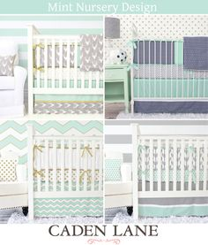 Caden Lane has the most amazing mint baby bedding to coordinate with your baby boy mint nursery design.