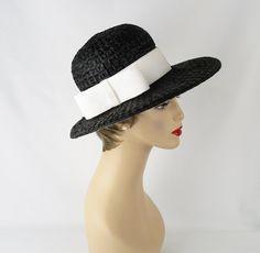 Vintage Wide Brim Hat Black Straw w/ Wide by alleycatsvintage