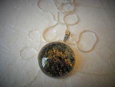Gold and Black brocade fabric pendant