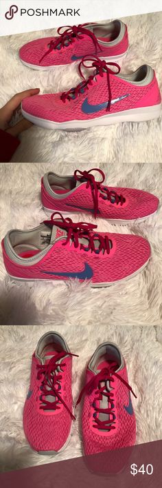 🆕 Women's Nike Hot Pink Sneakers Women's NIKE Tennis Shoes. Neon Pink with Blue Accents. Size 6. 100% Authentic. Brand new without tags. Nike Shoes Sneakers