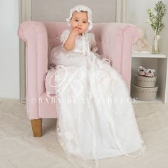 Scarlett Lace Christening Gown, Girls Baptism Gown
