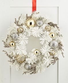 White Matted Print Holiday Wreath Downtown