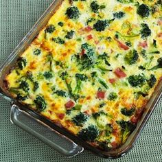 Broccoli, Ham, and Mozzarella Baked with Eggs @keyingredient #casserole