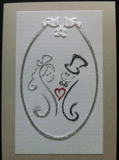 Photo: Embroidery Cards, Embroidery Stitches, Embroidery Patterns, Hand Embroidery, Wedding String Art, Sewing Cards, String Art Patterns, Card Patterns, Card Sketches