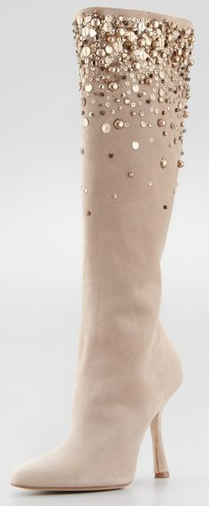 "Oscar de la Renta >> ""Love Ric"" gold sparkles ivory Suede Knee high Boot"