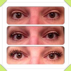 Younique's 3D Fiber Lashes!  These are not fake lashes, they go on just like mascara!  Top lashes are bare, middle lashes are wearing $24 dept. store mascara, and bottom lashes have 1 coat of 3D Fiber Lashes.  All natural, made from green tea.  Safe for contact lens wearers.