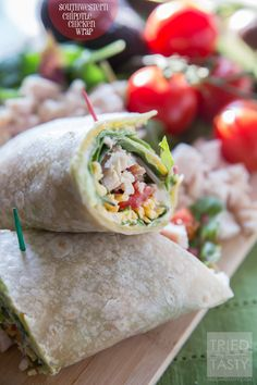 Southwestern Chipotle Chicken Wrap _ This wrap needs to be your new GO-TO! It's packed with flavor & ultra healthy! I took the idea of the taco & rolled it in a Brown Rice Tortilla, spread it with delicious mashed avocado, a chipotle sauce & topped it with your typical taco toppings. Boom. One of the most delicious wraps I've ever eaten! #Wraps