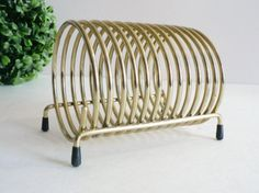 Gold Metal Coil Letter Holder  mid-century by myTreasureNook