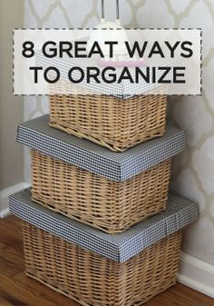 8 great ways Storage Baskets With Lids, Storage Ideas, Bachelorette Pad, Neat And Tidy, House Cleaning Tips, Decluttering, Diy Projects To Try, Project Life, Organization Hacks