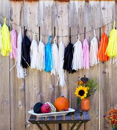 Paper Tassel Garland & Giant Balloon - Modern Harvest  | These sweet, festive pieces will give your party a modern, cra... | Wreaths & Garla...