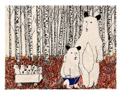 Bear and Cub by jimbobart.  High quality print on Archive Bockingford Watercolour paper. Limited Edition of 250, $35 !!
