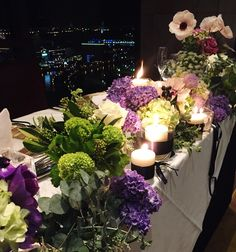 #novarese#vressetrose #Wedding #blue #purple #yokohamamonorith #natural #Flower #Bridal #ノバレーゼ#ブレスエットロゼ#横浜モノリス#ウエディング #ゲストテーブル#キャンドル#ナチュラル#結婚式#ブレスエットロゼ横浜 Floral Wedding, Wedding Flowers, Floral Centerpieces, Purple Gold, Wedding Table, Display, Table Decorations, Color, Home Decor