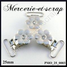 LOT de 10 pinces a bretelle forme FLEUR  METAL 25 MM brillant blanc