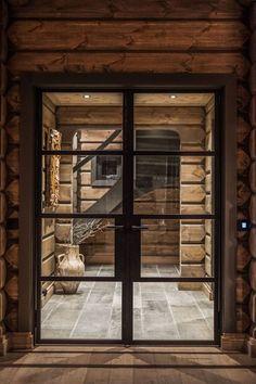 Mountain Cottage, Modern Mountain Home, Mountain Living, Chalet Design, Cabin Design, House Design, Cabins In The Woods, House In The Woods, Steel Doors And Windows