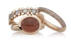 ringen, solar, mini phlox, stax, toermalijn, champagne diamant www.bronjewelry.com