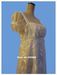 Custom Made Early 1800'S Regency Empire Bridal Dress Or Reproduction Costume/Theater Dress/Event Dress