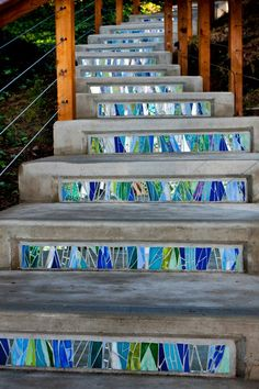 Architectural mosaic treatment for stair risers. Architectural mosaic treatment for stair risers. Mosaic Crafts, Mosaic Projects, Mosaic Art, Mosaic Tiles, Mosaics, Tiling, Mosaic Stairs, Tile Stairs, Concrete Stairs