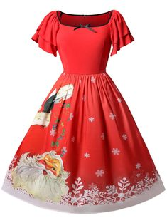 b46f4cf1444 Christmas Plus Size Santa Claus Print Vintage Dress Plus Size Vintage  Dresses