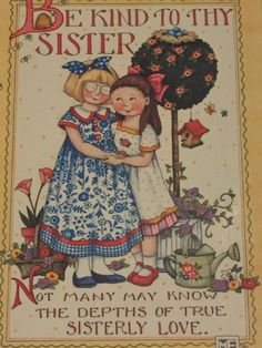 Mary Engelbreit Be Kind to Sister Colorplak Wall Hang Girls Decor Bees Love | eBay