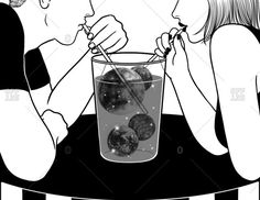 Couple sip from glass filled with moons and stars