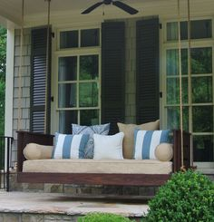 The Joshua bed swing from Vintage Porch Swings. A customer shared this picture with us. This is a handmade custom swing with special qualities, made in Charleston SC. See VintagePorchSwing. for more details and other swing designs. Patio Swing, Porch Swings, Bed Swings, Swing Beds, Tropical Patio, Farmhouse Front Porches, Southern Porches, Vintage Porch, Diy Porch