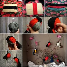 Do+you+have+any leftover+yarn+from+other+craft+projects?+Let's+make+these+cute+yarn+birdies.+They+are+super+easy+and+fun+to+make+even+with+toddlers.+Try+different+colors+of+yarn+to+make+a+colorful+collection of+birdies. Bird Crafts, Diy And Crafts, Christmas Crafts, Crafts For Kids, Christmas Tree, Fun Crafts, Christmas Ornaments, Yarn Animals, Diy Y Manualidades