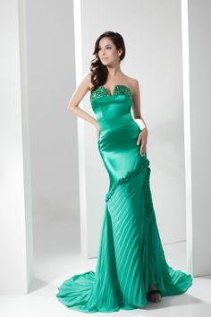 Amazing Styles Mermaid V Neck Satin Green Long Prom Dress 2013 £128.49