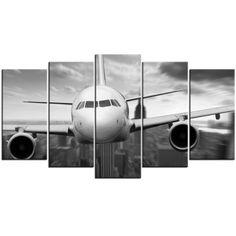 Tableau Polyptyque - Avion volant au-dessus de Manhattan en Noir et Blanc