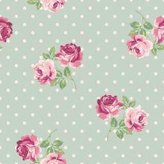 Papel de parede floral rosas com desenho lilás, rosa e verde. Fundo verde claro…