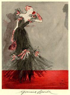 Dessin de René Gruau (1909-2004) dessinateur, affichiste et peintre franco-italien connu dans le monde entier pour ses illustrations de mode et ses publicités.