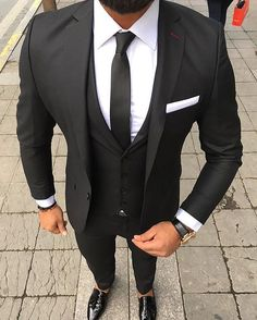 2018 Custom Made Black Men Suits for Wedding 3 Pieces Jacket Pants Vest Notched Lapel Slim Fit Suits Groomsmen Tuxedos Prom Wear Black And White Suit, Black Suit Men, Black Suit Groom, Black Suit Shoes, Mens Fashion Suits, Mens Suits, Grey Suits, Man Fashion, Mens 3 Piece Suits