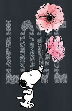 Snoopy - Love, pink flowers