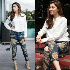 Mahira Khan in embroidered jeans Latest Indian Fashion Trends, Ethnic Fashion, Indian Designer Suits, Ethnic Wear Designer, Mahira Khan, Ayeza Khan, Casual Dresses, Fashion Dresses, Pakistan Fashion