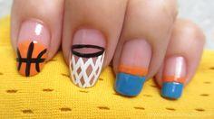 Basketball nails, so cute! Basketball Nails, Basketball Stuff, Basketball Playoffs, Basketball Problems, Basketball Rules, Girls Basketball, Nba Playoffs, Basketball Hoop, Sports Nail Art
