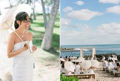 Guests took shade under paper parasols at a #wedding held at Lanikuhonua Cultural Estate in Kapolei Oahu Hawaii - great idea