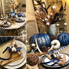 Unconventionally Classic Navy and Gold Marbleized Pumpkins ~ Southern Crush at H. Unconventionally Classic Navy and Gold Marbleized Pumpkins ~ Southern Crush at Home decor ideas Blue Fall Decor, Fall Home Decor, Autumn Home, Thanksgiving Decorations, Seasonal Decor, Thanksgiving Table Settings, Holiday Decorations, Holiday Ideas, Fall Table