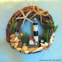Montauk Point Lighthouse Wreath_beach by CarmelasCoastalCraft
