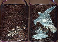 Case (Inrô) with Design of Hawk Attacking Crane beside Rocks and Plants  Period: Edo period (1615–1868) Date: 19th century Culture: Japan Medium: Lacquer, roiro, nashiji, gold, silver and brown hiramakie, raden inlay; Interior: roiro, fundame & chinkinbori decoration