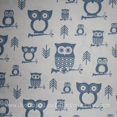 Premier Prints Fabric Hooty in Baby Blue and White  - Half Yard. $5.50, via Etsy.