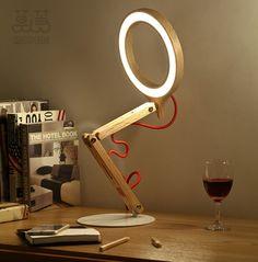 Dhlfree abajur de madeira de madeira de carvalho americano Handmade Woody regulável LED noite candeeiro de mesa de madeira mesa de iluminação moderna lâmpada de mesa