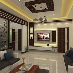 Living room Interior design by Kumar interior Thane ongoing project Acme Ozone Ghodbundar Road Tv Unit Interior Design, Tv Unit Furniture Design, Hall Interior, Bedroom Furniture Design, Interior Design Living Room, Interior Work, House Ceiling Design, Ceiling Design Living Room, Bedroom False Ceiling Design