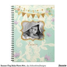 Banner Flag Baby Photo Notebook Lace Floral - baby gifts child new born gift idea diy cyo special unique design Floral Flowers, Floral Lace, Custom Journals, Floral Baby Shower, Newborn Baby Gifts, Floral Style, Office Gifts, Kids Gifts, Baby Photos