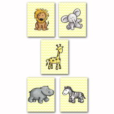 Giraffe Lion Elephant Hippo Zebra Wall Art by PurpleChicklet
