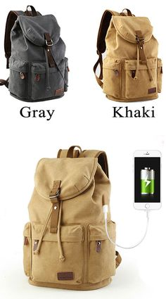 88ac2177670 Flap Travel Canvas Backpack With USB Interface Drawstring Large Capacity  Camping Rucksack for big sale!