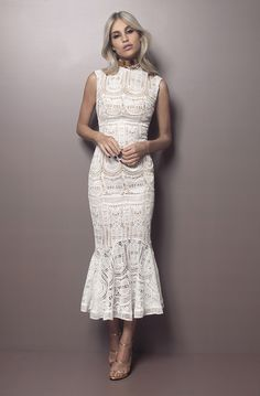 high neck prom dress white lace party dress mermaid homecoming dress lace party dress outfits or dresses Mode Outfits, Dress Outfits, Fashion Dresses, Dress Up, Dress Lace, High Neck Lace Dress, Lace Party Dresses, Evening Dresses, Wedding Guest Dresses